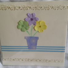 "Handmade ""general"" card for use on all occasions. embellished with paper flowers and hand cut flower pot."