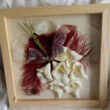 Lovely handmade 3D picture made as a wedding memento using calla lillies and offset with coloured feathers and ribbons which have been gently swirled to accent them.