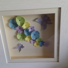 "Beautiful handmade 8"" x 8"" frame outlining a 3D collage of paper flowers, crystals and hand cut butterflies."