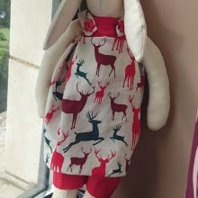 Handmade rabbit with dress and trousers