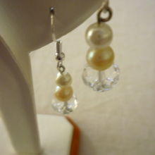 Sterling silver earrings with clear crystal balls and 2 pearls